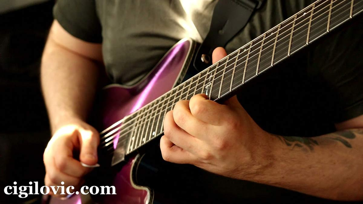 La Bella HRS-73 10-64 7 String Whole Step Down Tuning Test